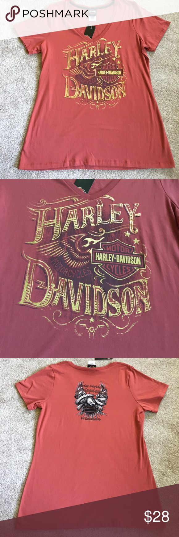 """Harley Davidson. New. Brand new ladies t-shirt with gold foil lettering. Pit to pit measurement is 21"""". Harley-Davidson Tops"""