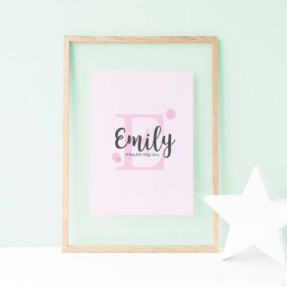 This lovely baby name sign is ideal to be printed and framed as a nursery wall art, or to offer it as a baby shower or birthday gift.   Baby Name Sign Nursery Wall Art Blush Pink Baby Girl