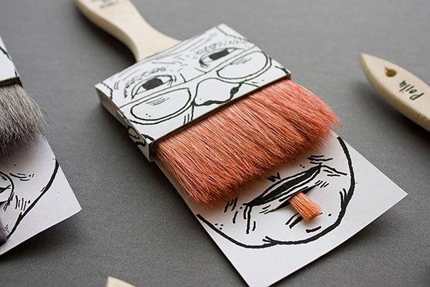 Moustache Paintbrushes. Designed by Simon Laliberté.