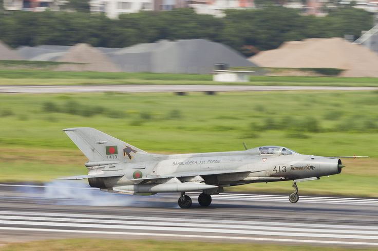 "Chengdu F-7BG of Bangladeshi Air Force.F-7 improved Chinese copy of Russian Mig-21 ""Fishbed"". Bangladeshi Air Force fleet of about 55 F-7s,of all versions,for operational missions or training.Latest and most advanced version is the F-7BGI,which began to be delivered by China in 2012.Chinese aircraft manufacturer Chengdu and Shenyang Aircraft Corporation have built more than 2,400 Chengdu J-7 (or F-7) ,with large number of different versions that have been modernized over time."