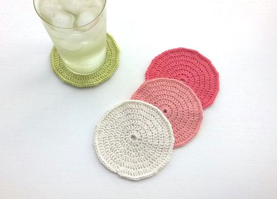 Coasters Crochet Coasters Drink Coasters by AGirlNamedMariaDK #coasters #coaster #drink #beverage #party #supplies #home #decor #entertaining #tablesetting #decorating #dinner #table #guests #glass #mug #cup #pink #white #green #coral #red