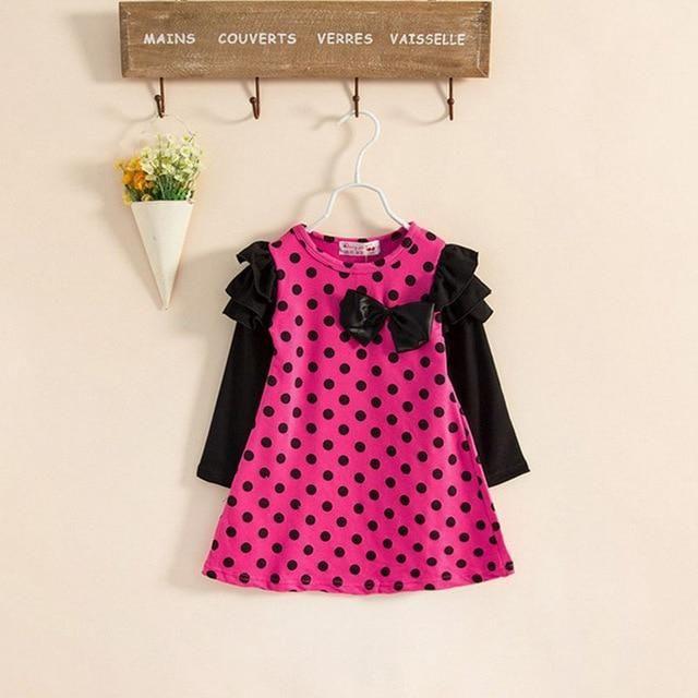 Kid bébé vêtements Dress New Automne Preppy Style Girls Dress manches longues Bow Princess Dress Design Enfants Vêtements Party Dress   – Products