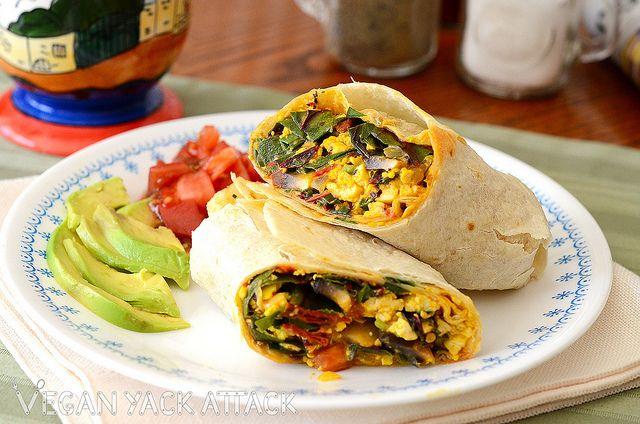 Easy Eggless Scrambled Egg Breakfast Burrito with a Zesty Jalapeño ...