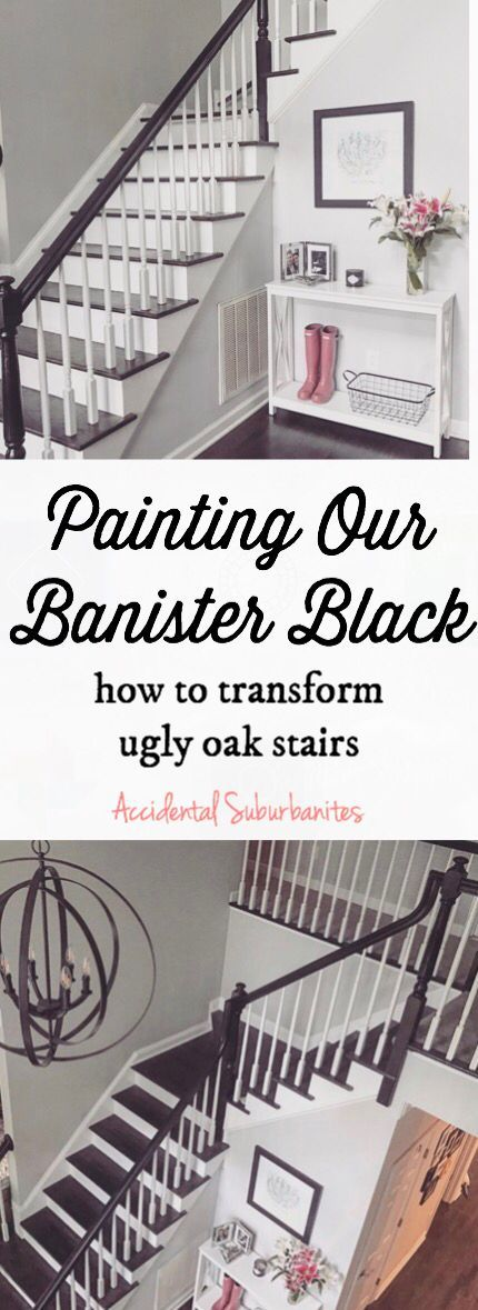 Black banister grey entryway ideas how to paint oak banister staircase black diy