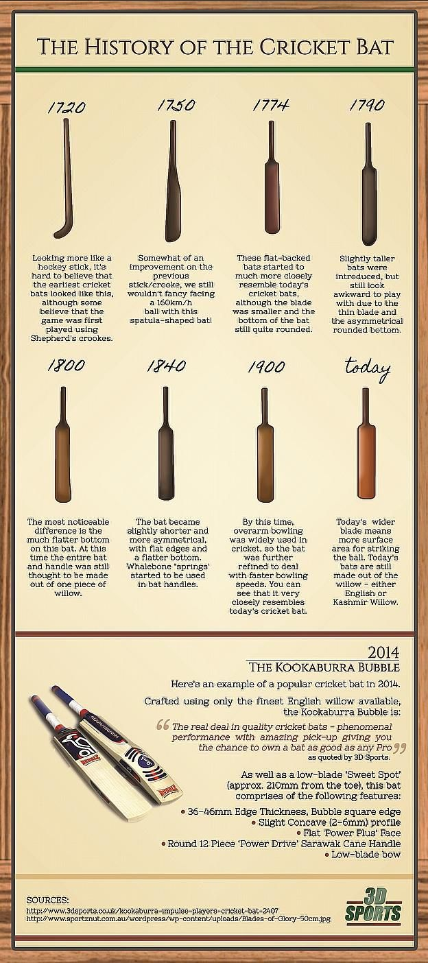 The History of The Cricket Bat #infographic #bat #cricket