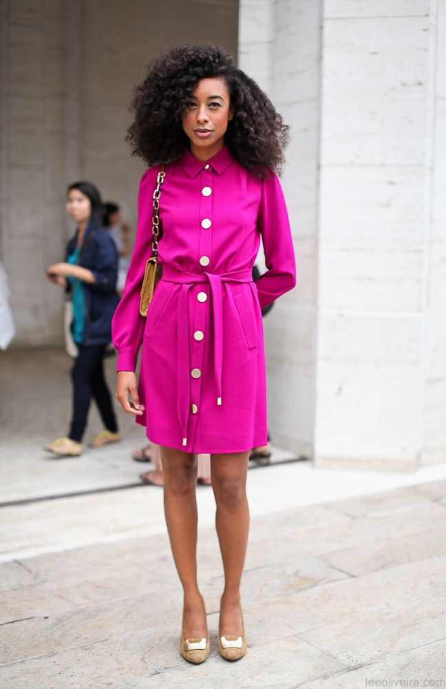 Magenta shirt dressCorinne Baileys Rae, Bright Pink, Colors, Street Style, Dresses, Girls Hairstyles, Nature Hairstyles, Hair Style, Big Hair