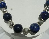 Lapis Lazuli and Silver bracelet earrings and necklace Jewelry Set