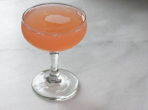 The Pinkest Gin - Gin, Grapefruit Juice, Lemon Juice, Quince Syrup (Recipe), Peychaud's Bitters.