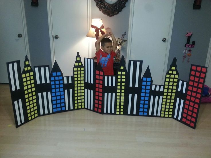 Superhero city backdrop! Made with black science project boards! By Barbie Balboa