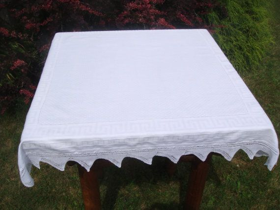 Irish Damask Tablecloth, Vintage Tablecloth White With Dot Pattern Center  And Greek Key Border.