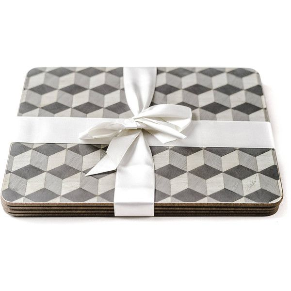 6 Large Grey Place mats and Coasters Set 6 Gray Placemats Coasters... ($146) ❤ liked on Polyvore featuring home, kitchen & dining, table linens, christmas table mats, square placemats, grey table mats, christmas table linen and grey placemats