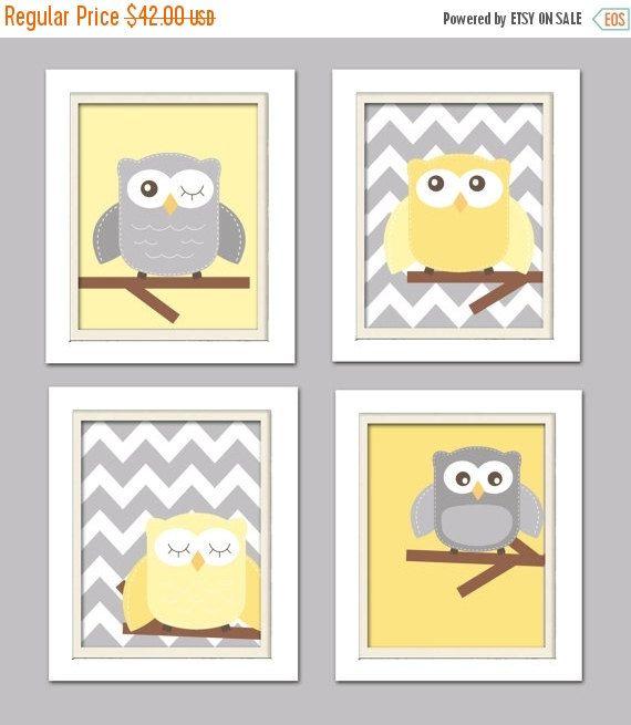 ON SALE NOW Yellow and gray nursery Nursery Owl Art by ChicWallArt