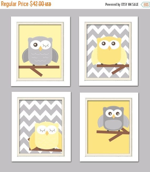 ON SALE NOW Yellow and gray nursery Nursery Owl Art by ChicWallArt