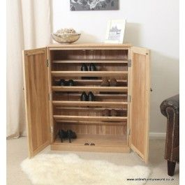 Mobel Oak Solid Large Shoe Cupboard