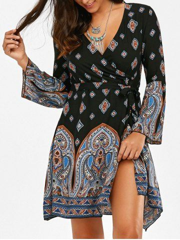 Vintage Print High Slit Short Surplice Dress