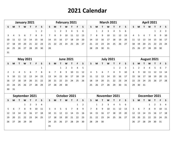 Free blank 2021 calendar printable 2021 calendar