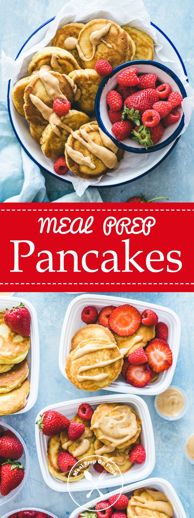 Yes, You CAN Meal Prep Pancakes!  Didn't think you could meal prep pancakes? Well, we are here to show you that you can! This quick, paleo friendly meal is loaded with fiber and healthy fats to keep you going all morning long!