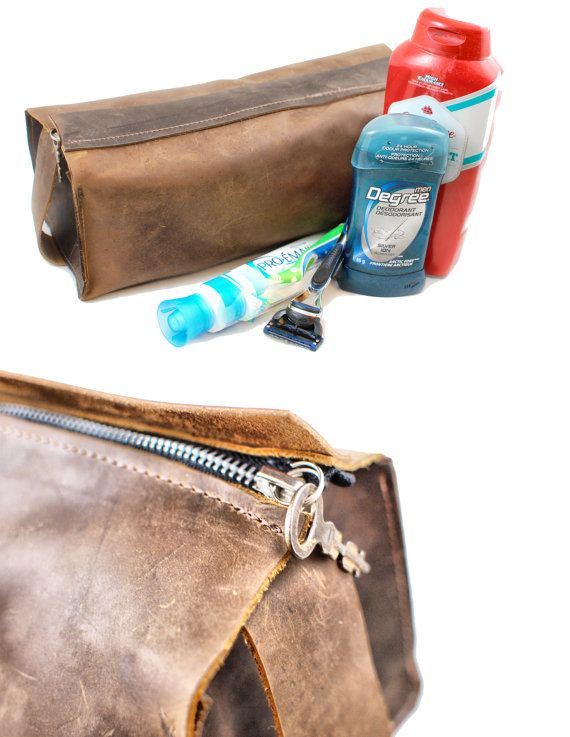 Men's Toiletry Bag Leather Toiletry DOPP Kit by DivinaDenuevo