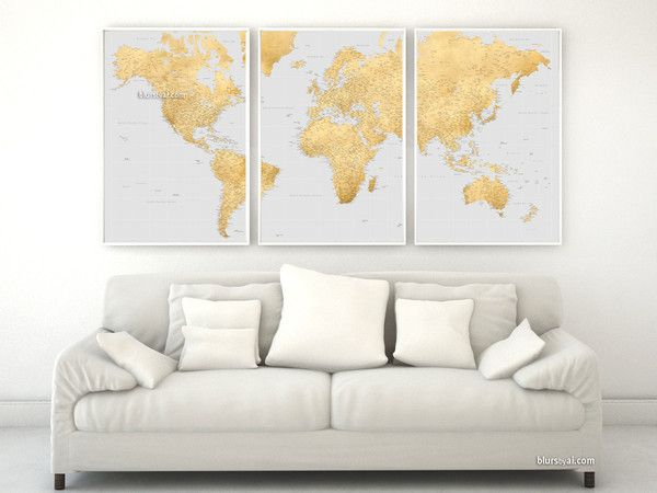 "Highly detailed word map poster set in gold effect and gray, set of 3 split posters in 24x36"" each, no quote Travel lover idea: You can use framed corkboards or frames that are backed with foam core board for marking the places you've been too using needle pushpins."