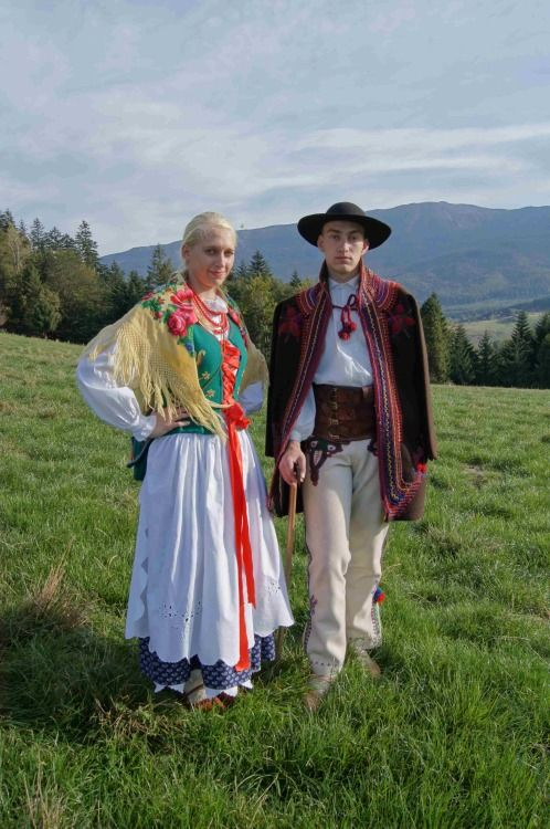Folk costume of Babiogórcy (inhabitants of the northern slopes of Babia Góra - Old Wives' or Witches' Mountain massif), Poland.