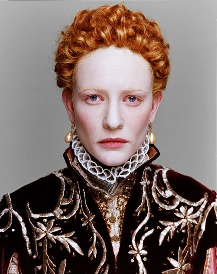 Cate Blanchett as Queen Elizabeth I of England. The 'Virgin Queen' costume designed by Alexandra Byrne.