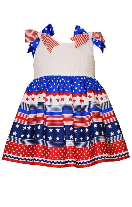 Nuevo con etiquetas Bonnie Jean 4th Blanco Guinga Estampado De Julio Vestido Talla 3-6 meses