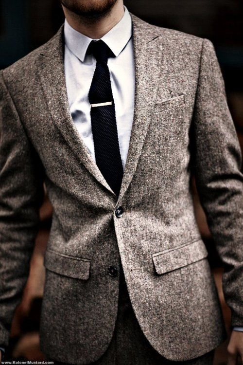 Nothing is better than a suit and a tie - mix it up with different textures: Grey Suits, Tweed Jackets, Ties Clip, Men Style, Menstyle, Men Fashion, Blazers, Tweed Suits, Sports Coats