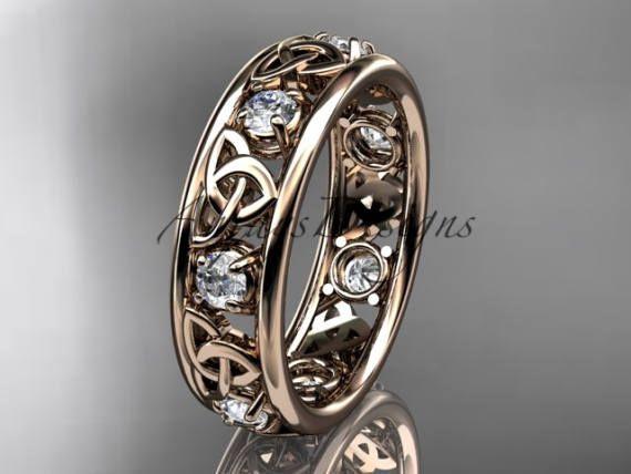 14kt rose or celtique trinity nœud mariage bande bague de