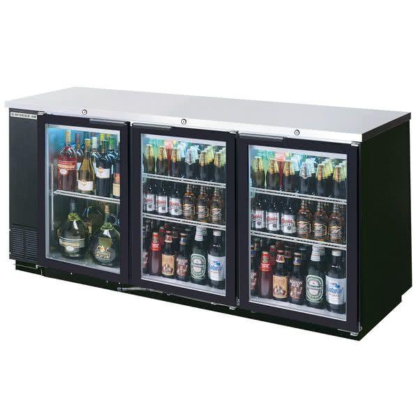Beverage Air Bb72hc 1 Gs B 27 72 Black Sliding Glass Door Back Bar Refrigerator With Stainless Steel Top 115v Bar Refrigerator Glass Door Refrigerator Glass Door