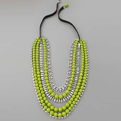 Fashion necklace.  What a fun color! Totally cute in the  summer with hair in a high bun and  a plain tee and Jean shorts