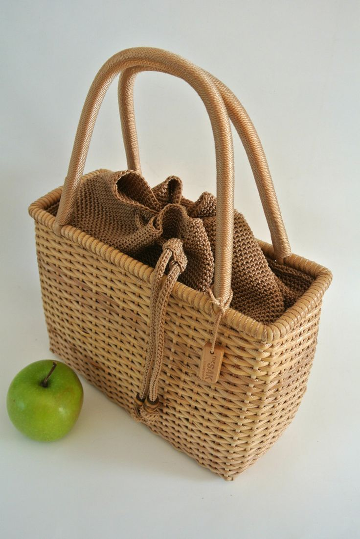 "Retro ""THE SAK"" Elliott Lucca WICKER Handbag/Purse by LongTallSallys on Etsy"