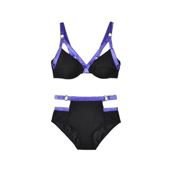 Chromat Black & Royal Blue Cut Out Bikini (34 AUD) ❤ liked on Polyvore featuring swimwear, bikinis, high waisted two piece, underwire swimwear, underwire bra, underwire bikini swimwear and high rise bikini swimwear