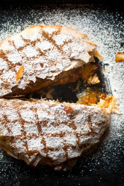 A traditional Moroccan dish considered by some to be royal fare. The sweet-powdered sugar-dusted finish & cinnamon trellis design over the crust just wins me over every time.