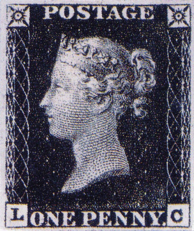 LA PRIMERA ESTAMPILLA POSTAL Apareció en mayo de 1840, con el perfil de la joven Reina Victoria, quien permaneció en todas las estampillas británicas durante los siguientes sesenta años. Se imprimió con tinta negra y tenía el valor de un penique, por lo que es conocida como penny black o penique negro. Con su aparición, surgió también la filatelia. Un funcionario del Museo Británico fue el primero que se interesó en ella.
