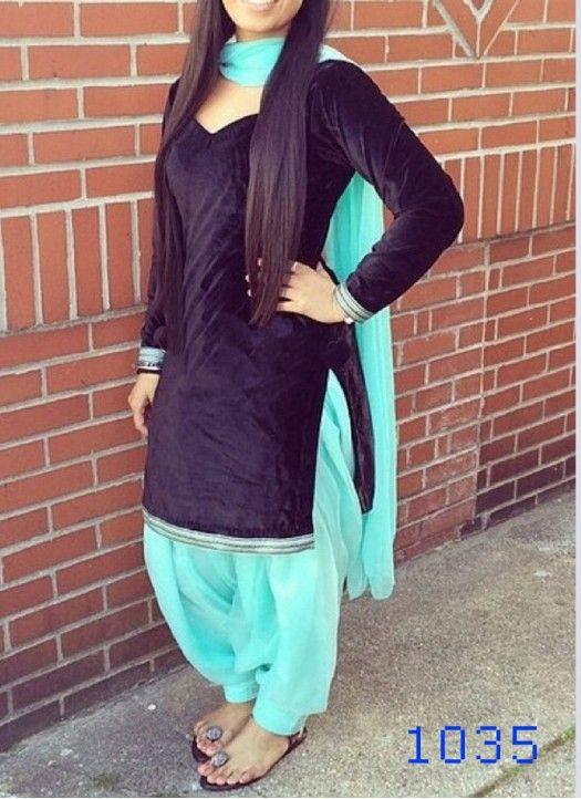 Black Velvet Simple Patiala Salwar Suit