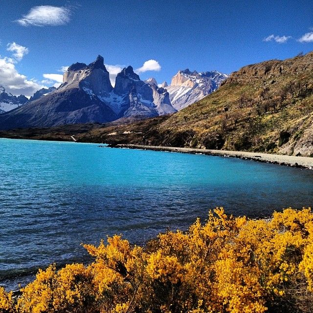 Lake Pehoé, Torres del Paine National Park, in the Magallanes Region of southern Chile.