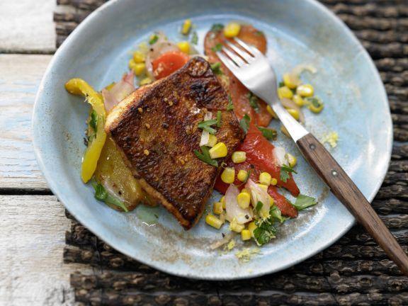 Scharfes Zanderfilet mit Paprika-Mais-Gemüse: Genießen wie in den amerikanischen Südstaaten - Edelfisch auf raffiniert feurige Tex-Mex-Art.