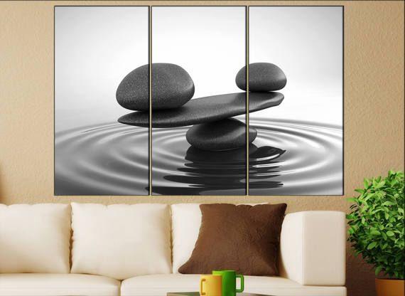 Zen Stones Canvas Wall Art Zen Stones Canvas Wall Art Art Etsy Large Canvas Wall Art Stone Wall Art Rustic Wall Art