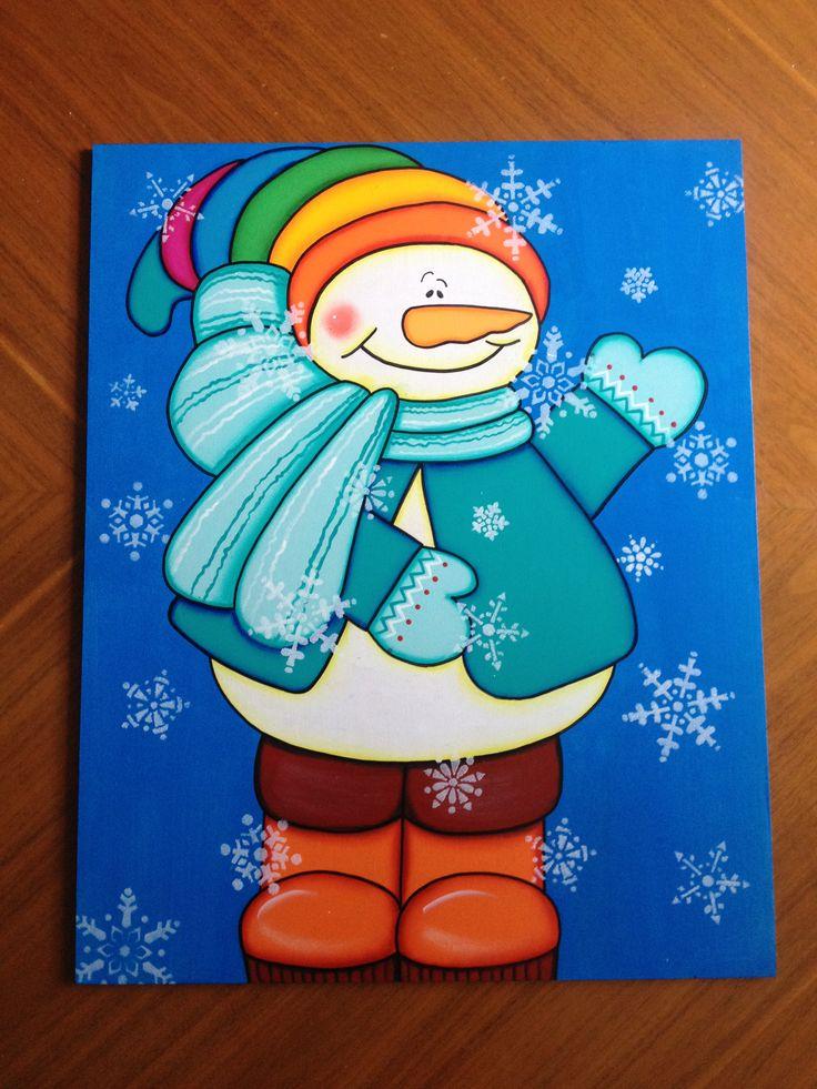 Muñeco de nieve con bufanda y colorido sombrero. Estaca para decorar tu jardín navideño