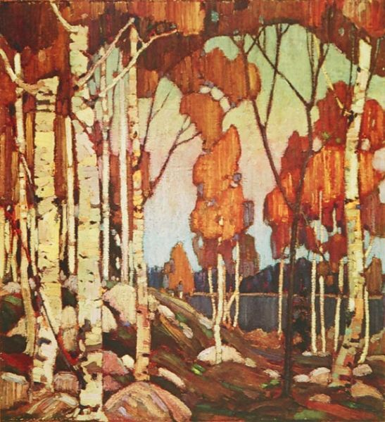 Tom Thomson, one of the Group of Seven  -  Decorative Landscape Birches