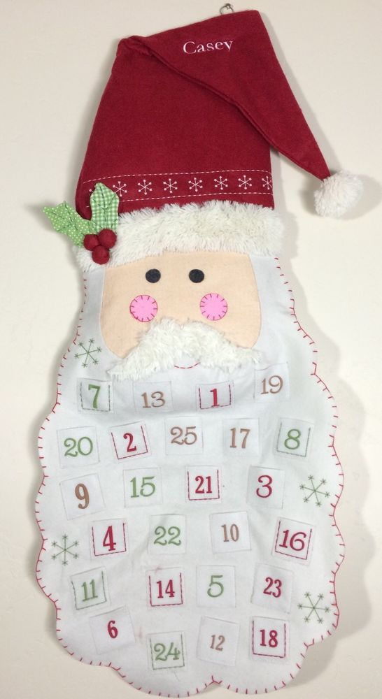 POTTERY BARN KIDS SANTA FACE ADVENT CHRISTMAS COUNTDOWN CALENDAR *CASEY* NEW  | eBay