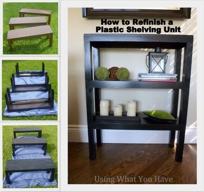 How to makeover plastic shelves, DIY, painting plastic, repairing cracks in plastic and repairing warped plastic. From UsingWhatYouHave.com