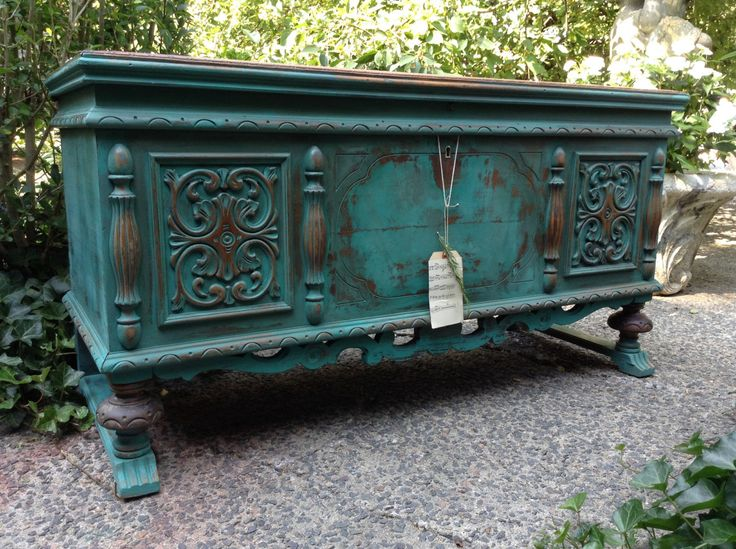 Painted Furniture - Vintage Cedar Chest - Painted Buffet - Painted Cedar Chest - Turquoise Chest - Jacobean Cedar Chest - Bohemian Chest - Rustic Home - Hand Painted Blanket Chest - Annie Sloan chalk Paint - Milk Paint - Custom Blended Paint by DareToBeVintage on Etsy More