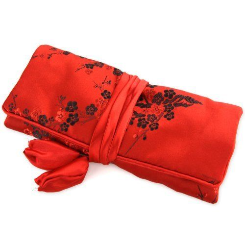 """Silky Jewelry Roll / Cosmetic Roll Travel Pouch with Floral Cherry Blossom Embroidering - Red & Black by Evolatree. $14.49. Three zippered compartments, one large compartment, and one ring holder. Dimensions: Rolled 7.5"""" x 3.5 """" / Open 7.5"""" x 10"""". Silky soft material made from a Silk & Rayon blend. Perfect for keeping your rings, earrings, bracelets and other jewelry or cosmetic accessories.. Save 56% Off!"""