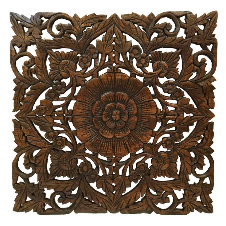 Oriental Carved Floral Wall Decor. Unique Asian Wood Wall Art. Large Square  Carved Wood