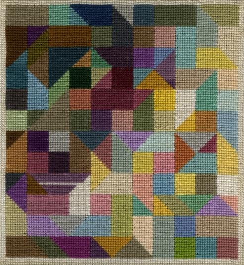 Eine kleine Stickerei von Sisi Bolliger. Sie lebte von 1916 bis 2010 und hat ihre Arbeiten nie publiziert oder ausgestellt. Ihre kleinen Farbstiftzeichnungen sind neben vielen Arbeiten weiterer Künstler auf www.artbrut.li und www.aussenseiterkunst.ch zu sehen.