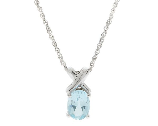 9k white gold pendent set with a 1.00 carat blue topaz.