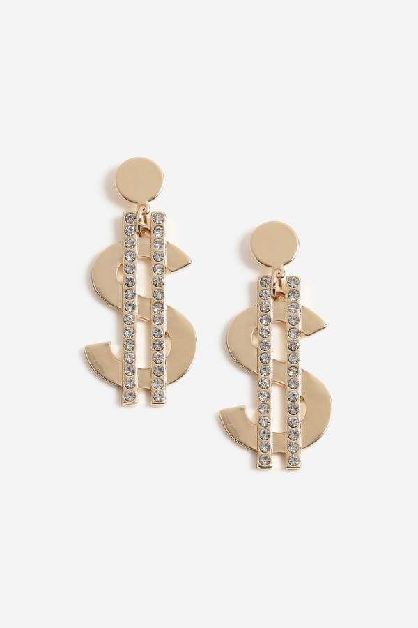 Topshop Crystal Dollar Bill Earrings