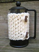 cafetiere warmer. Made me smile this one. http://crochet.about.com/od/cozies/a/french-press-cozy.htm?r=un2