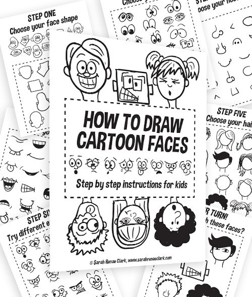 How to draw cartoon faces - printable workbook for kids